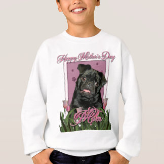 Mutter-Tag - rosa Tulpen - Mops - Ruffy Sweatshirt