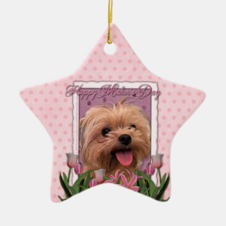 Mutter-Tag - rosa Tulpen - Morkie - Lacey Keramik Ornament
