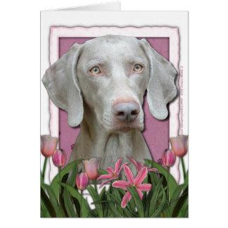 Mutter-Tag - rosa Tulpen - Weimaraner - Goldaugen Karte