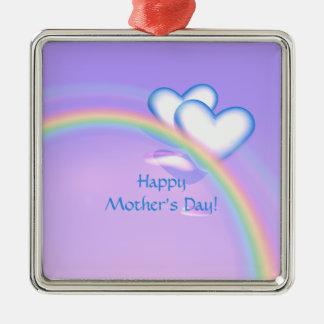 Mutter-Tageshohe Herzen Quadratisches Silberfarbenes Ornament