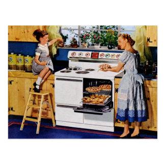 Mutter-/Tochter-Retro Küche Postard Postkarten