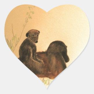 Mutter-u. Baby-Paviane - Tier-Affe-Primate Herz-Aufkleber
