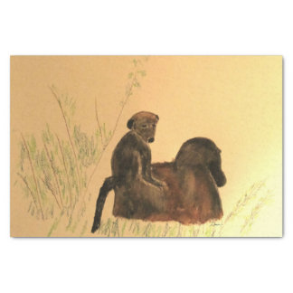 Mutter-u. Baby-Paviane - Tier-Affe-Primate Seidenpapier