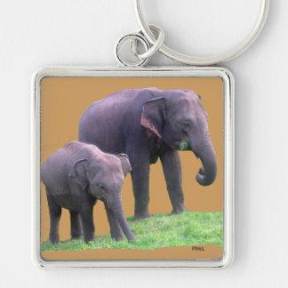 Mutter-und Baby-Elefant, erstklassiges Silberfarbener Quadratischer Schlüsselanhänger