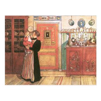 Mutter und Baby in der Küche Postkarte