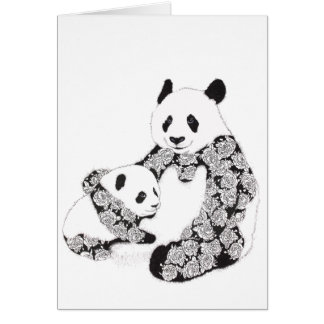Mutter-und Baby-Panda-Illustration Karte