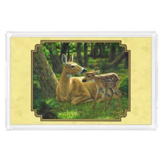 Mutter-und Baby-Weißwedelhirsch-Gelb Acryl Tablett