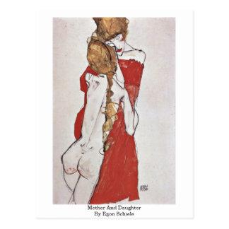 Mutter und Tochter durch Egon Schiele Postkarte