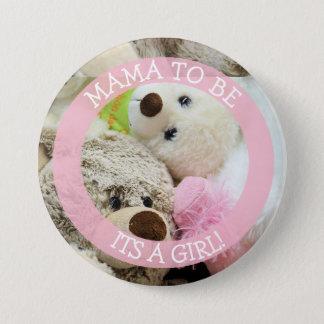 Mutter zum zu sein, Babypartyknopf, Teddybären Runder Button 7,6 Cm