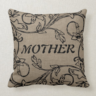 Mutterblumencrewel-Effekt auf die Leinwand Kissen