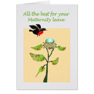 Mutterschaft verlässt beste Wünsche, Vogel, Ei und Karte