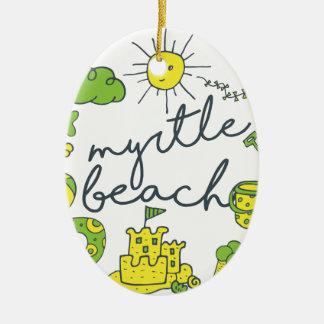 Myrtle- Beachskript Ovales Keramik Ornament