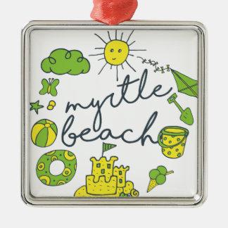 Myrtle- Beachskript Quadratisches Silberfarbenes Ornament