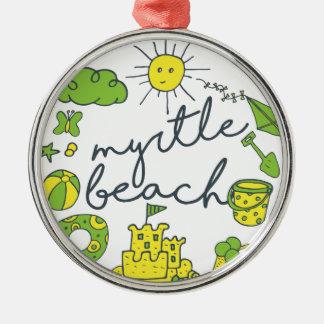 Myrtle- Beachskript Rundes Silberfarbenes Ornament