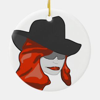 Mysteriöser Redhead Rundes Keramik Ornament