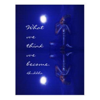 Mystische blaue Buddha-Reflexion mit Zitat Postkarte