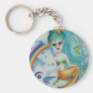 Mystische magische Meerjungfrau Standard Runder Schlüsselanhänger