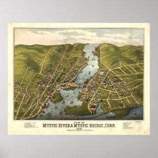 Mystische panoramische Karte Fluss-Connecticuts Poster