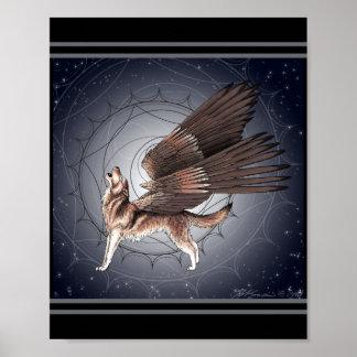 Mystischer Winged Wolf Poster