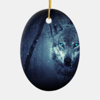 Mystischer Winter-Wolf Ovales Keramik Ornament