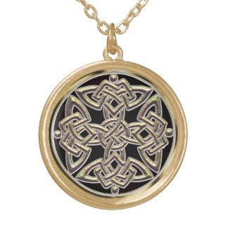 Mystisches Goldkeltische Schild-Knoten-Halskette Vergoldete Kette