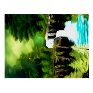 Mythische grüne Fantasie-Fälle Postkarte