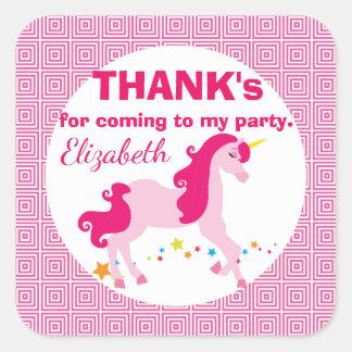 Mythischer rosa Einhorn-Geburtstag danken Ihnen Quadratischer Aufkleber