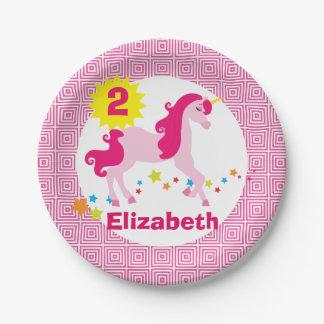 Mythischer rosa Unicorn-Geburtstags-Party-Teller Pappteller