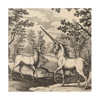 Mythisches Einhorn im Wald Holzleinwand