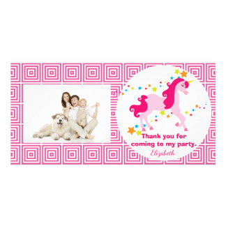 Mythisches rosa Unicorn-Geburtstags-Party danken Fotogrußkarten