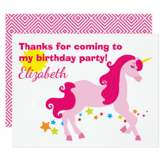 Mythisches rosa Unicorn-Geburtstags-Party danken Karte