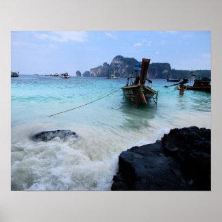N°2 - Affe-Strand. Blaues Wasser. Leinwand Poster