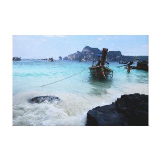 N°2 - Affe-Strand. Blaues Wasser Leinwanddruck