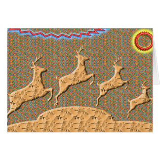 N espiègle emballant des cerfs communs carte de vœux
