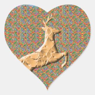 N espiègle emballant des cerfs communs sticker cœur
