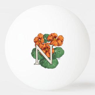 N für Kapuzinerkäse-Blumen-Monogramm Tischtennis Ball