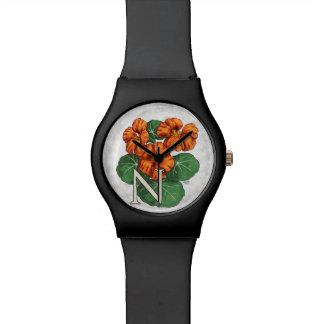 N für Nasturiums Blumen-Alphabet-Monogramm Armbanduhr