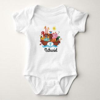 N-Monogramm-Noahs Arche-personalisierter Baby-T - Baby Strampler