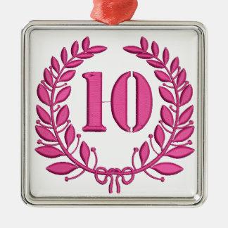 Nachahmung mit 10 Glückwünschen der Stickerei Silbernes Ornament