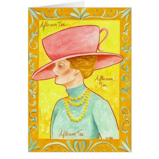 Nachmittagstee-Dame Grußkarte