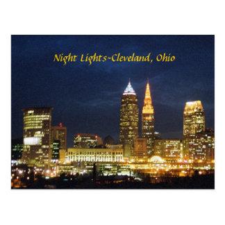Nacht beleuchtet Postkarte Clevelands Ohio