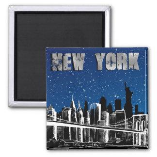 Nacht, New- YorkSkyline Quadratischer Magnet
