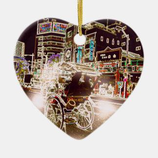 Nacht Tokyos Rickshw Keramik Herz-Ornament