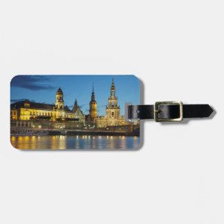Nachtansicht Dresdens Elbe Kofferanhänger