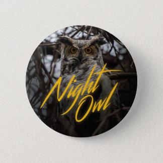 Nachteule - Retro Art-Knopf Runder Button 5,7 Cm