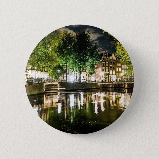 Nachtkanal in Amsterdam, die Niederlande Runder Button 5,7 Cm