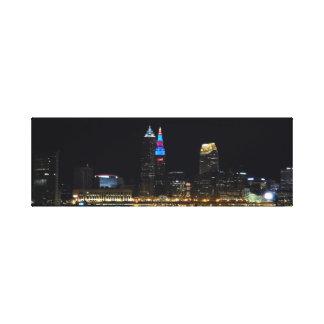 NachtSkyline-(rot/Blau) Druck Clevelands Ohio Leinwanddruck