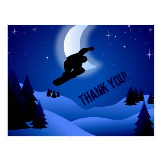 NachtSnowboarding-Berg und Mond danken Ihnen Postkarte