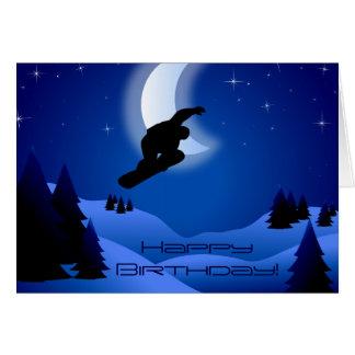 NachtSnowboarding-Gebirgsmond-alles Gute zum Karte