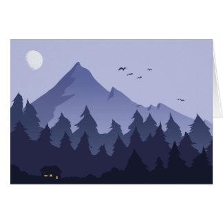 Nachtzeit in einer Gebirgskabinen-Gruß-Karte Karte
